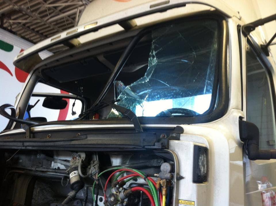 shattered truck windshield