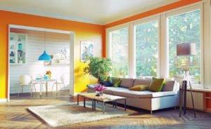 modern living room with energy saving window film