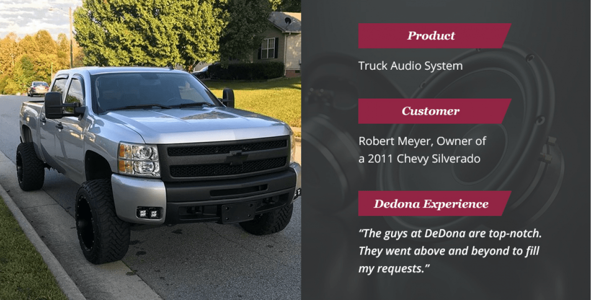 Dedona auto audio system install on truck