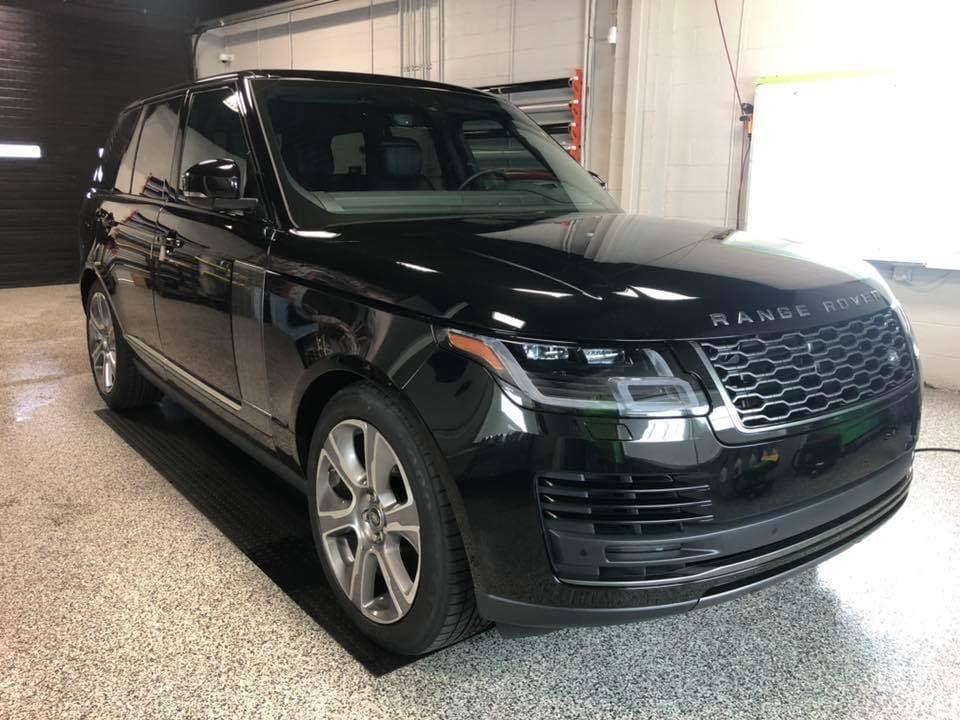 black car with automotive window tint